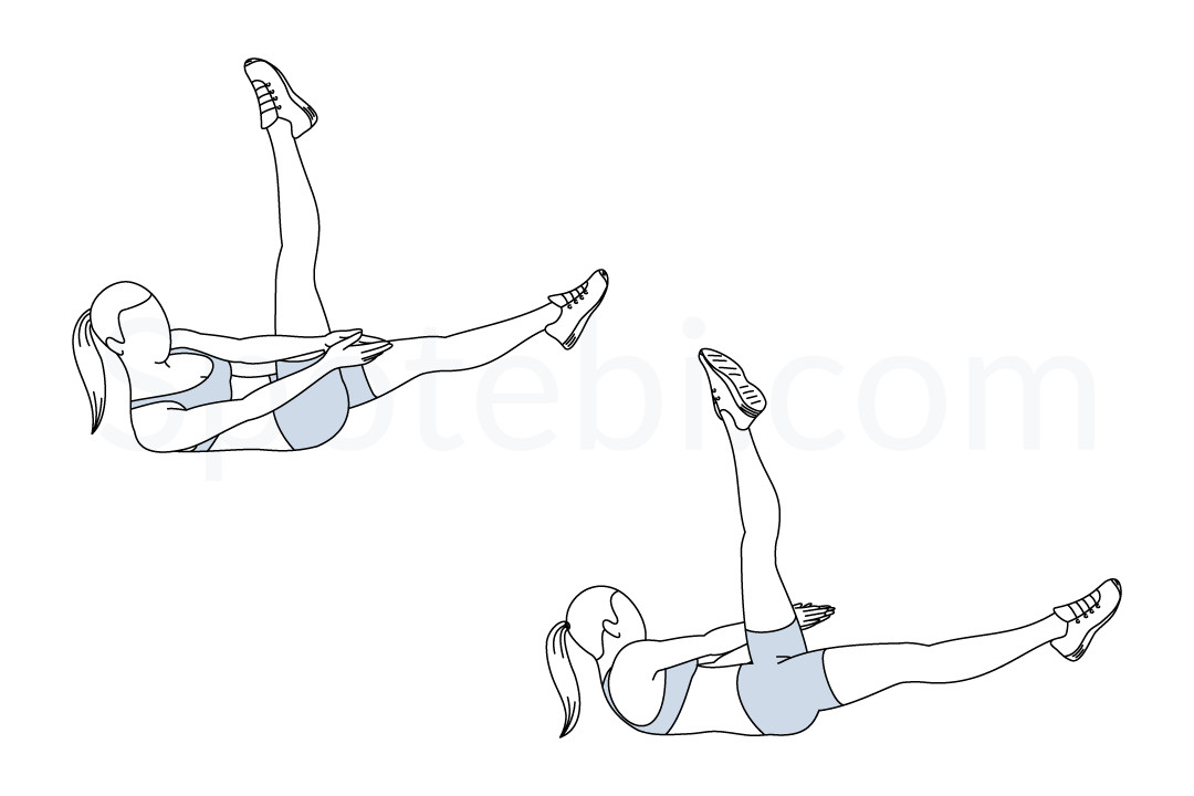 Side crunch leg raise exercise guide with instructions, demonstration, calories burned and muscles worked. Learn proper form, discover all health benefits and choose a workout. https://www.spotebi.com/exercise-guide/side-crunch-leg-raise/