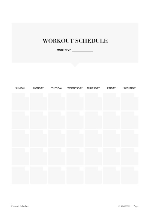 Workout Schedule Template / @spotebi
