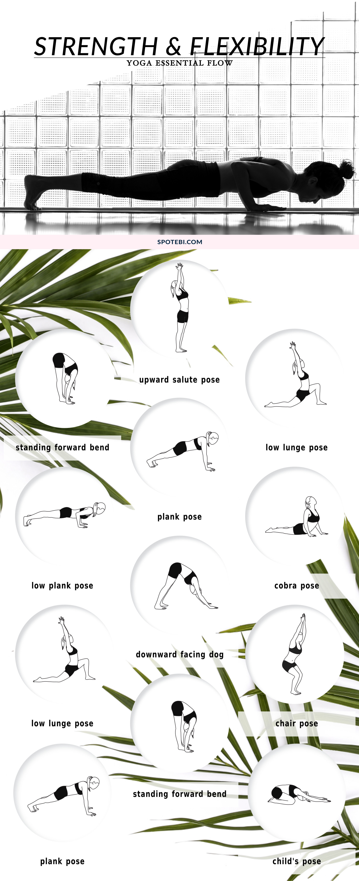 Strengthen your body, improve your flexibility and boost your energy with this 12 minute yoga essential flow. These bodyweight-bearing poses will help you keep your body youthful, build strong, flexible muscles and clear your mind. https://www.spotebi.com/yoga-sequences/strength-flexibility/