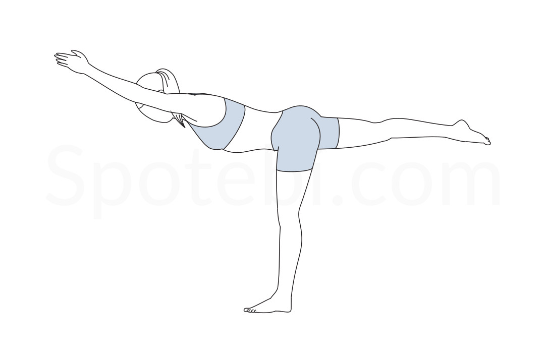 Line Drawing Yoga Pose : Warrior iii pose virabhadrasana