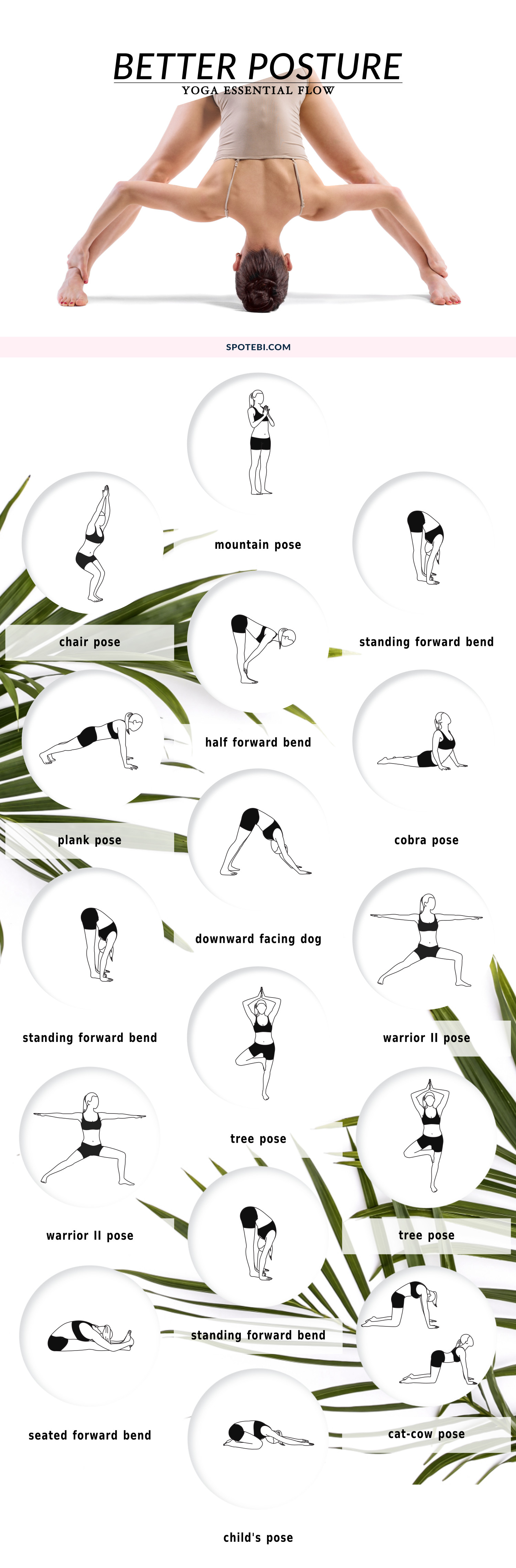 Try these yoga corrective poses to strengthen and stretch your back muscles and improve spinal alignment! This 10-minute yoga flow is designed to help you stand tall and become aware of your posture. https://www.spotebi.com/yoga-sequences/better-posture/