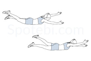 Pilates swimming exercise guide with instructions, demonstration, calories burned and muscles worked. Learn proper form, discover all health benefits and choose a workout. https://www.spotebi.com/exercise-guide/pilates-swimming/