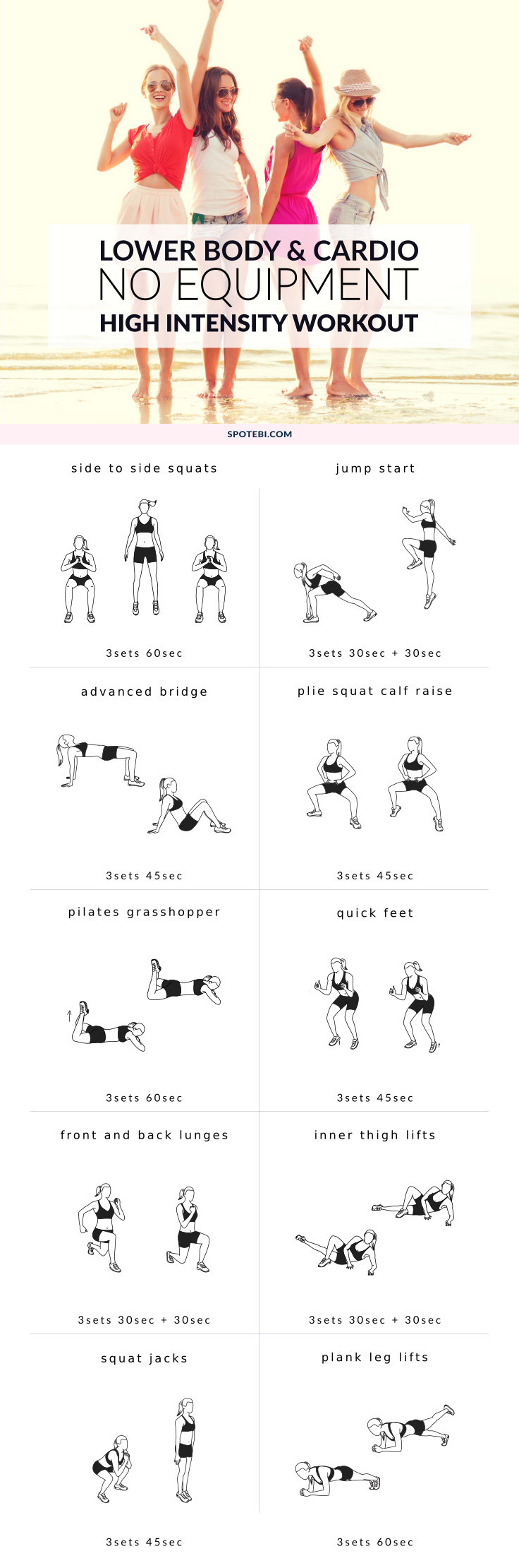 Sculpt strong, sexy legs and glutes with this high-intensity no-equipment workout. A 29-minute circuit to maximize your metabolism, torch calories and build lean muscle! https://www.spotebi.com/workout-routines/high-intensity-no-equipment-workout/