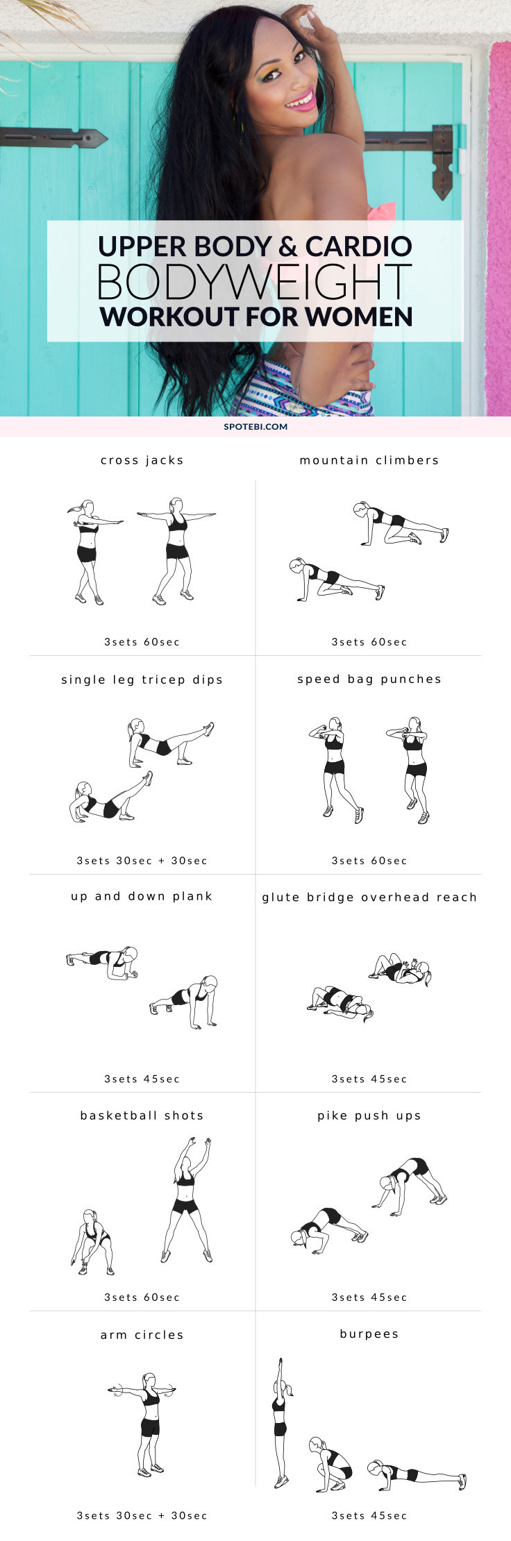 Try this upper body bodyweight workout next time you're on vacation and don't have your go-to gear. Tone and sculpt your back, chest, shoulders, and arms without the need for any additional equipment. https://www.spotebi.com/workout-routines/upper-body-bodyweight-workout/