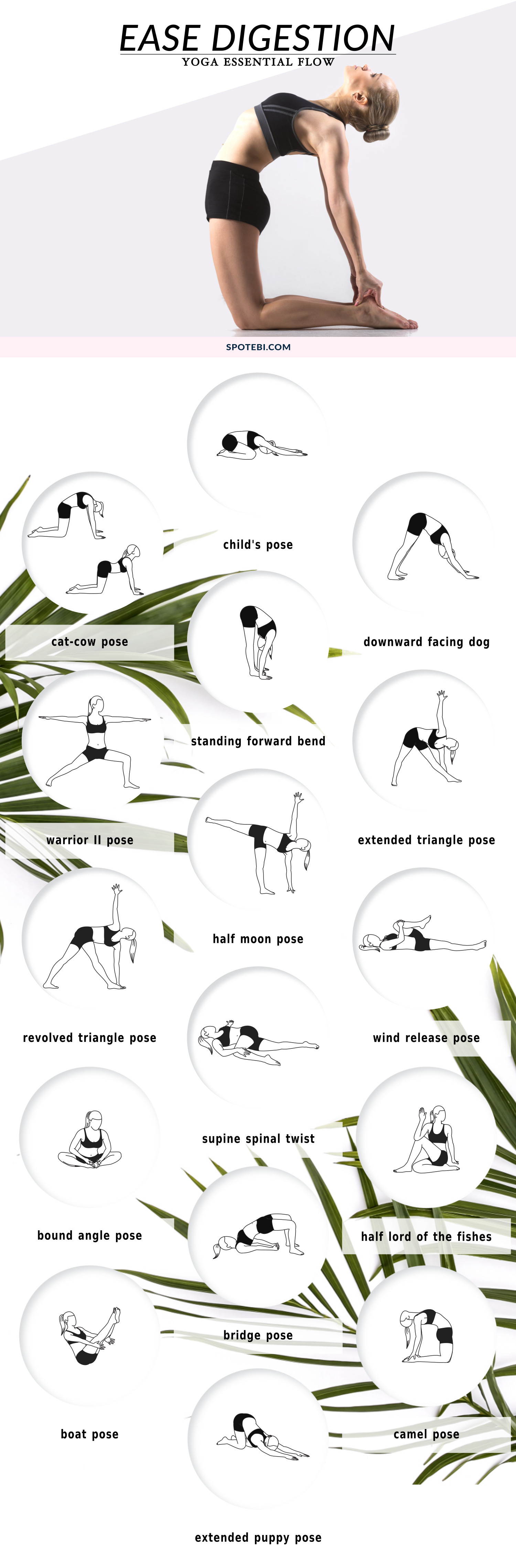 Boost digestion, relieve constipation and de-bloat with this 20-minute yoga essential flow. Pair these 17 yoga poses with deep breathing to massage the abdominal organs, increase circulation and get things moving! https://www.spotebi.com/yoga-sequences/ease-digestion/