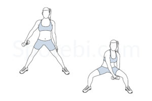 Figure 8 squat exercise guide with instructions, demonstration, calories burned and muscles worked. Learn proper form, discover all health benefits and choose a workout. https://www.spotebi.com/exercise-guide/figure-8-squat/