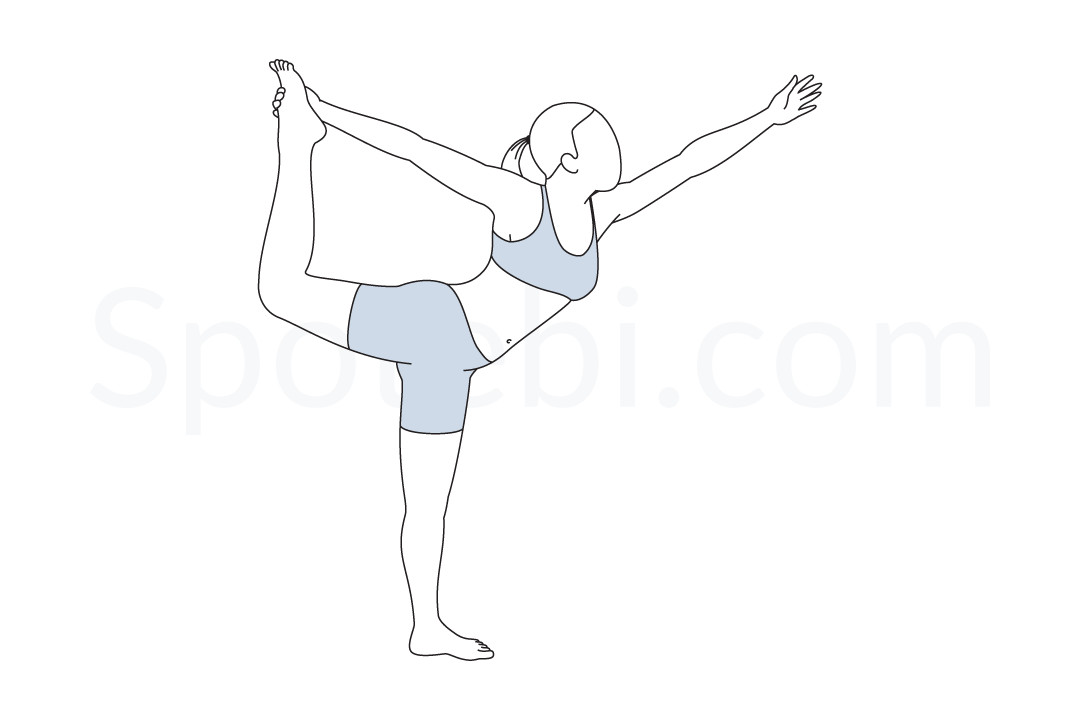 Lord of the dance pose (Natarajasana) instructions, illustration, and mindfulness practice. Learn about preparatory, complementary and follow-up poses, and discover all health benefits. https://www.spotebi.com/exercise-guide/lord-of-the-dance-pose/