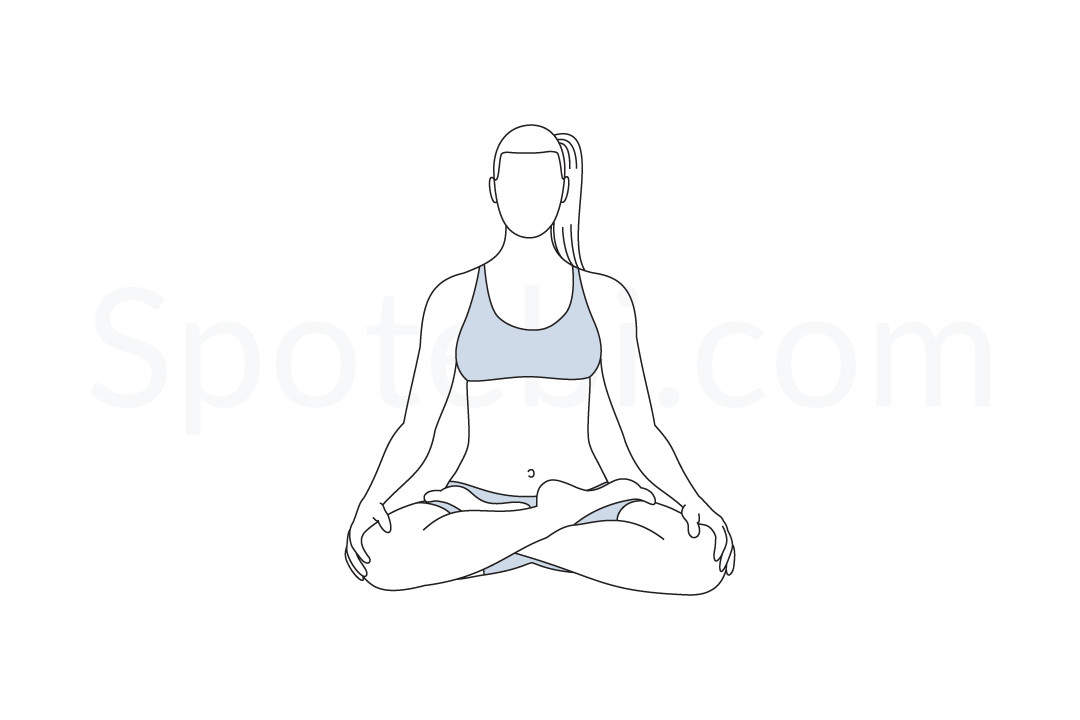 Lotus pose (Padmasana) instructions, illustration, and mindfulness practice. Learn about preparatory, complementary and follow-up poses, and discover all health benefits. https://www.spotebi.com/exercise-guide/lotus-pose/