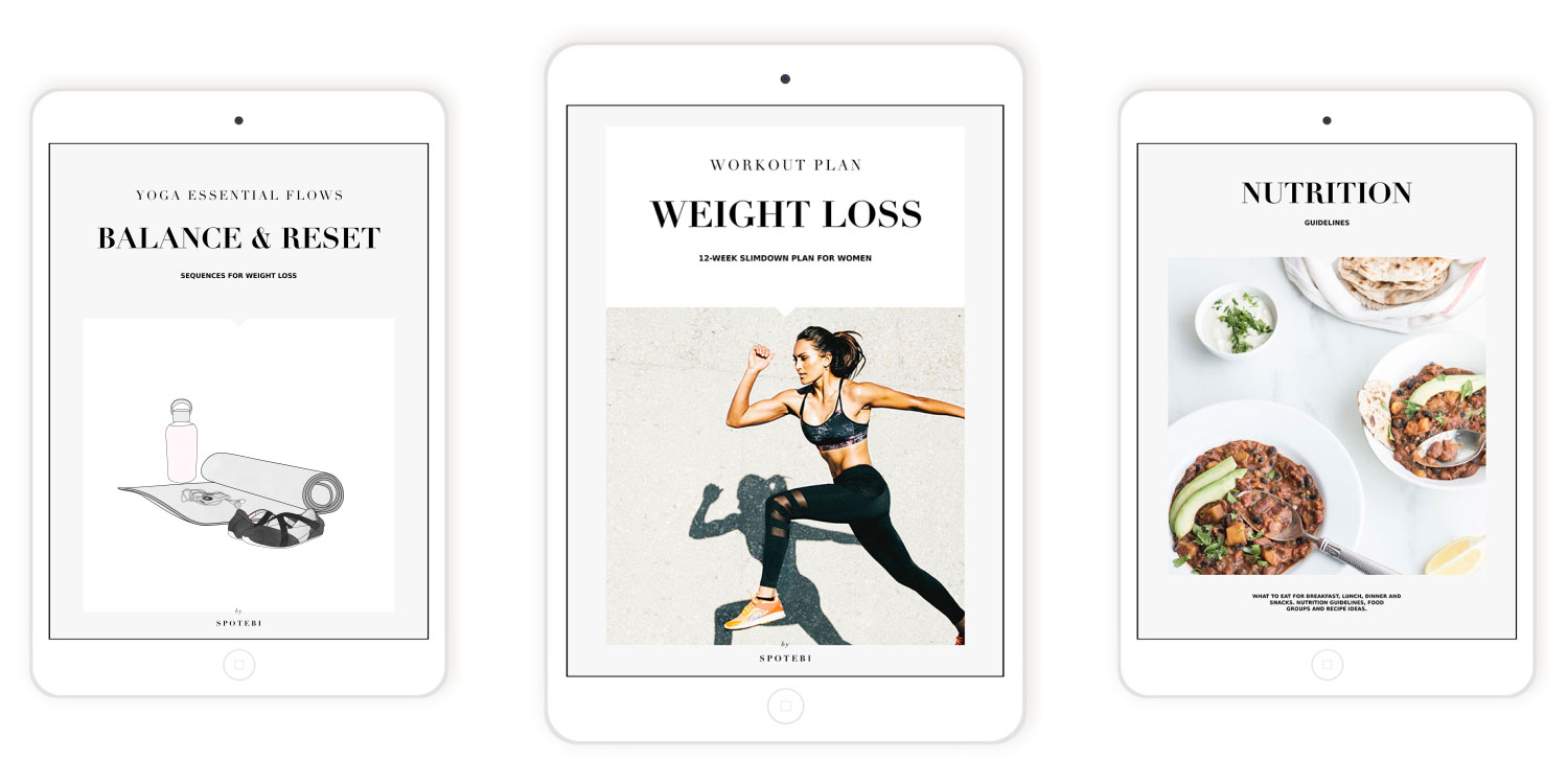 The weight loss bundle is a 12-week program designed to speed up your metabolism, burn the most calories and maximize your weight loss. This plan includes weight loss and lifestyle advice + nutrition guidelines + 12-week workout plan + 6 Balance & reset essential flows + Exclusive online resources.