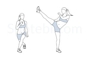 Curtsy lunge side kick exercise guide with instructions, demonstration, calories burned and muscles worked. Learn proper form, discover all health benefits and choose a workout. https://www.spotebi.com/exercise-guide/curtsy-lunge-side-kick/