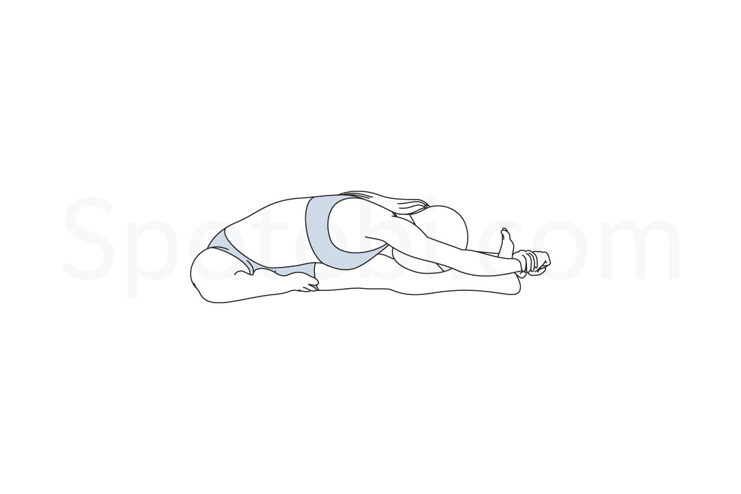 Head to knee forward bend pose (Janu Sirsasana) instructions, illustration, and mindfulness practice. Learn about preparatory, complementary and follow-up poses, and discover all health benefits. https://www.spotebi.com/exercise-guide/head-to-knee-forward-bend-pose/