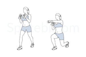 Lunge punch exercise guide with instructions, demonstration, calories burned and muscles worked. Learn proper form, discover all health benefits and choose a workout. https://www.spotebi.com/exercise-guide/lunge-punch/