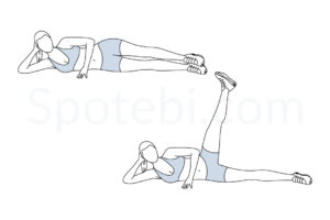 Side lying hip abduction exercise guide with instructions, demonstration, calories burned and muscles worked. Learn proper form, discover all health benefits and choose a workout. https://www.spotebi.com/exercise-guide/side-lying-hip-abduction/