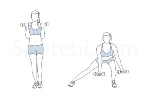 Side lunge curl exercise guide with instructions, demonstration, calories burned and muscles worked. Learn proper form, discover all health benefits and choose a workout. https://www.spotebi.com/exercise-guide/side-lunge-curl/