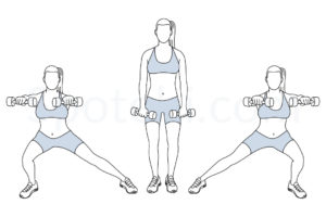 Side lunge front raise exercise guide with instructions, demonstration, calories burned and muscles worked. Learn proper form, discover all health benefits and choose a workout. https://www.spotebi.com/exercise-guide/side-lunge-front-raise/