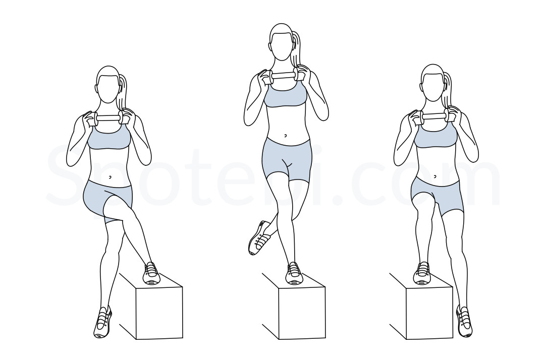 Step up crossover exercise guide with instructions, demonstration, calories burned and muscles worked. Learn proper form, discover all health benefits and choose a workout. https://www.spotebi.com/exercise-guide/step-up-crossover/