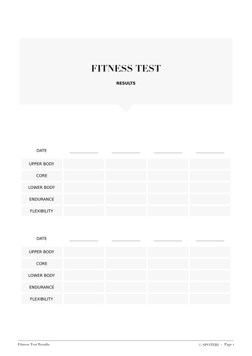 Fitness Test Results/ @spotebi