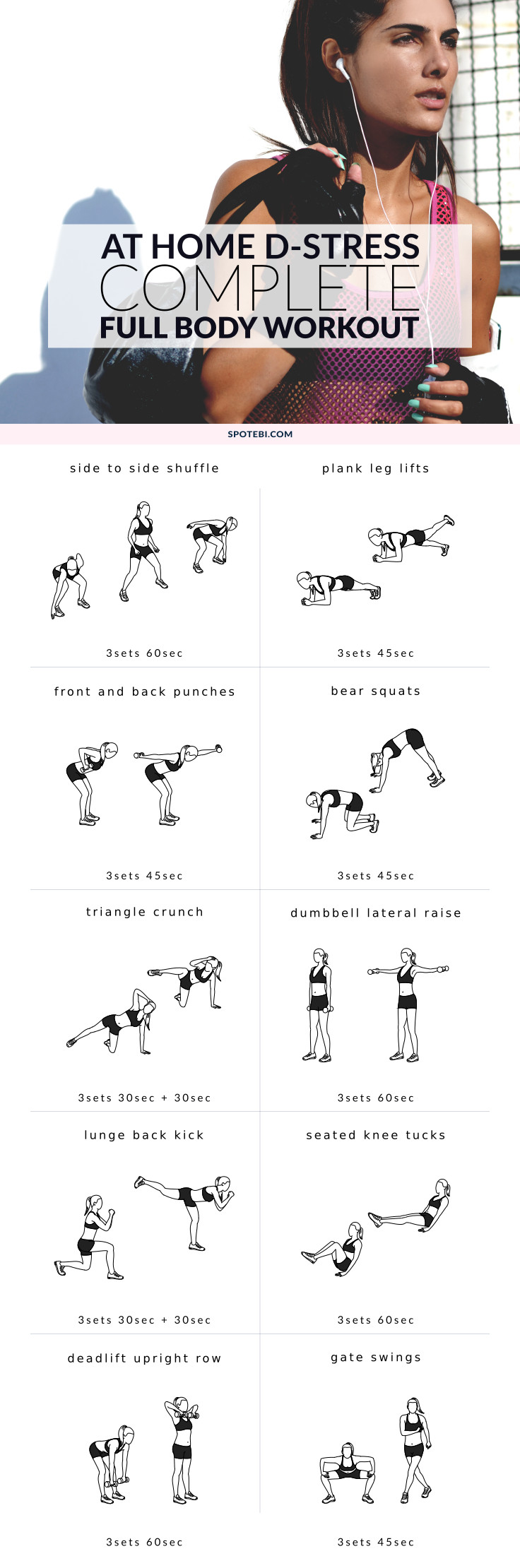 Tone your whole body and burn excess fat with this complete full body workout you can do at home. Grab a set of dumbbells, get in the zone and blast those holiday calories in just 29 minutes! https://www.spotebi.com/workout-routines/complete-full-body-workout/