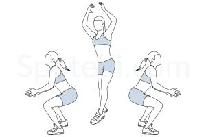 180 jump squat exercise guide with instructions, demonstration, calories burned and muscles worked. Learn proper form, discover all health benefits and choose a workout. https://www.spotebi.com/exercise-guide/180-jump-squat/