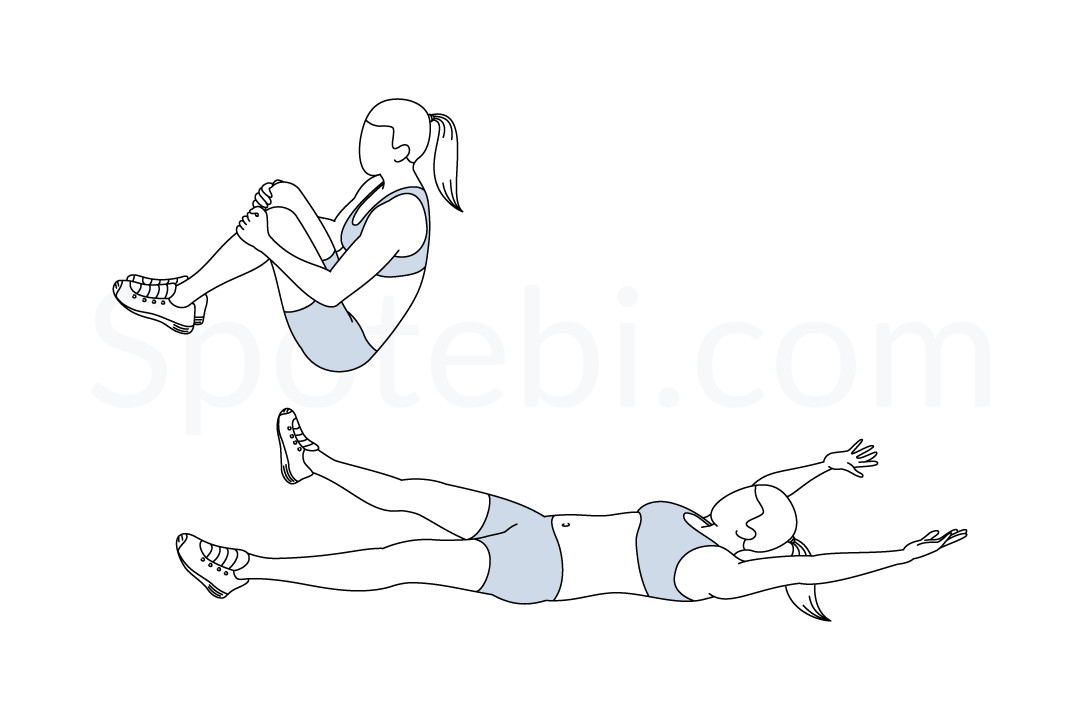 Bent leg jackknife exercise guide with instructions, demonstration, calories burned and muscles worked. Learn proper form, discover all health benefits and choose a workout. https://www.spotebi.com/exercise-guide/bent-leg-jackknife/