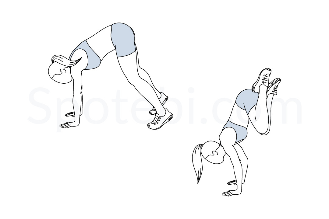 Double leg donkey kicks exercise guide with instructions, demonstration, calories burned and muscles worked. Learn proper form, discover all health benefits and choose a workout. https://www.spotebi.com/exercise-guide/double-leg-donkey-kicks/