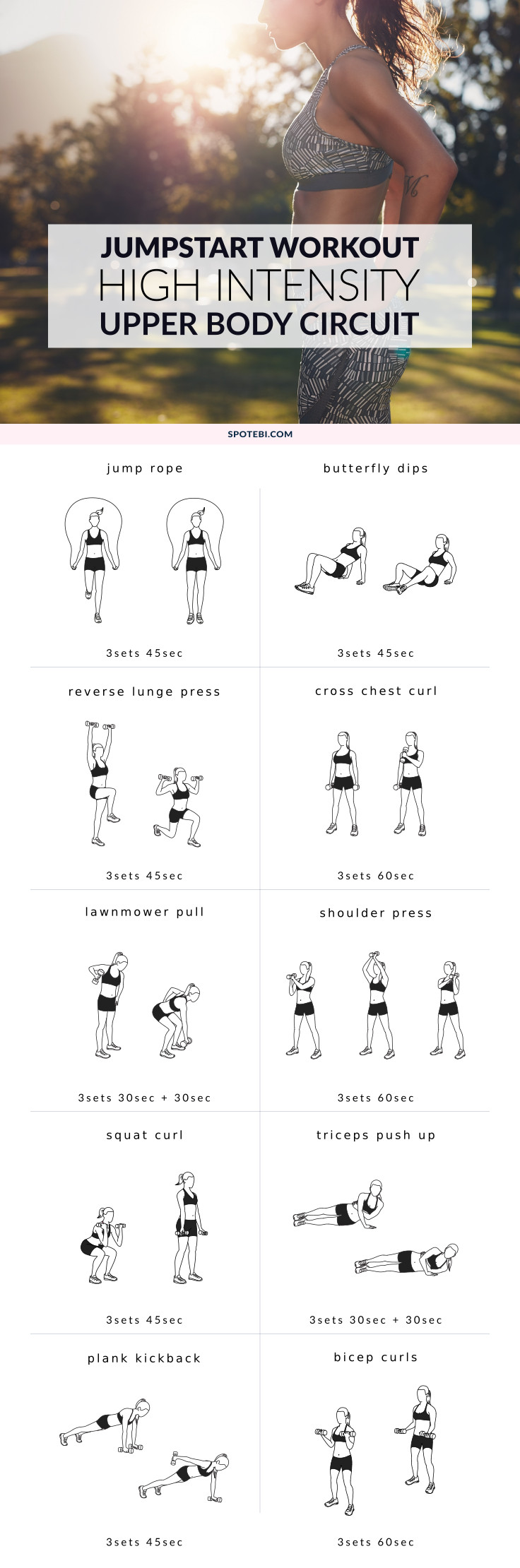 Jumpstart your weight loss and sculpt sleek, sexy arms and shoulders with this high-intensity upper body workout. A mix of cardio and strength training moves designed to burn off fat fast! https://www.spotebi.com/workout-routines/high-intensity-upper-body-workout/