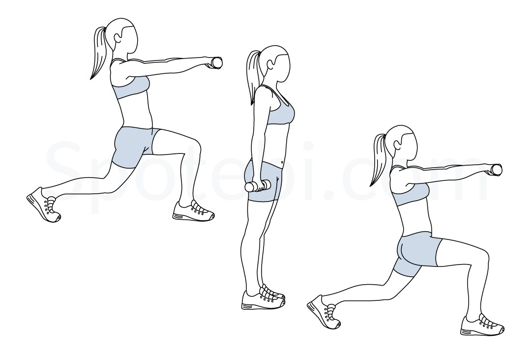 Alternating lunge front raise exercise guide with instructions, demonstration, calories burned and muscles worked. Learn proper form, discover all health benefits and choose a workout. https://www.spotebi.com/exercise-guide/alternating-lunge-front-raise/