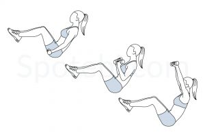 V sit curl press exercise guide with instructions, demonstration, calories burned and muscles worked. Learn proper form, discover all health benefits and choose a workout. https://www.spotebi.com/exercise-guide/v-sit-curl-press/