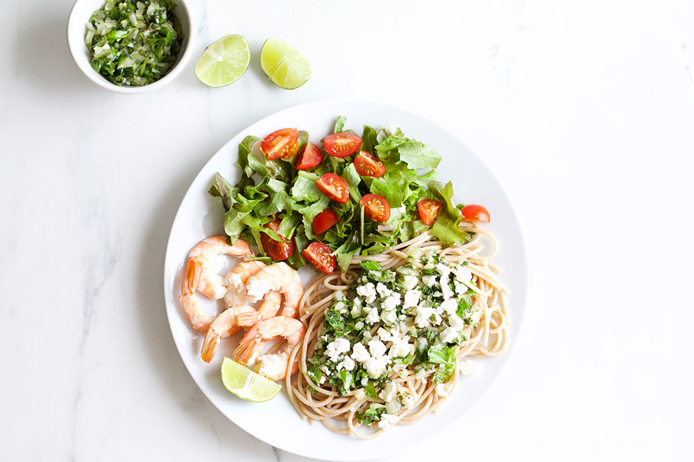Chimichurri Shrimp Pasta Recipe: A well-balanced meal you can eat even when you're on a diet! https://www.spotebi.com/recipes/chimichurri-shrimp-pasta/