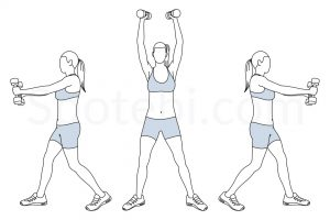Dumbbell overhead rainbow exercise guide with instructions, demonstration, calories burned and muscles worked. Learn proper form, discover all health benefits and choose a workout. https://www.spotebi.com/exercise-guide/dumbbell-overhead-rainbow/