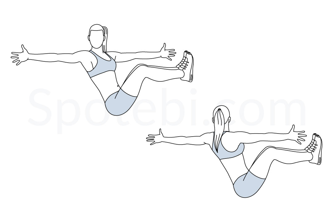 Boat twist exercise guide with instructions, demonstration, calories burned and muscles worked. Learn proper form, discover all health benefits and choose a workout. https://www.spotebi.com/exercise-guide/boat-twist/