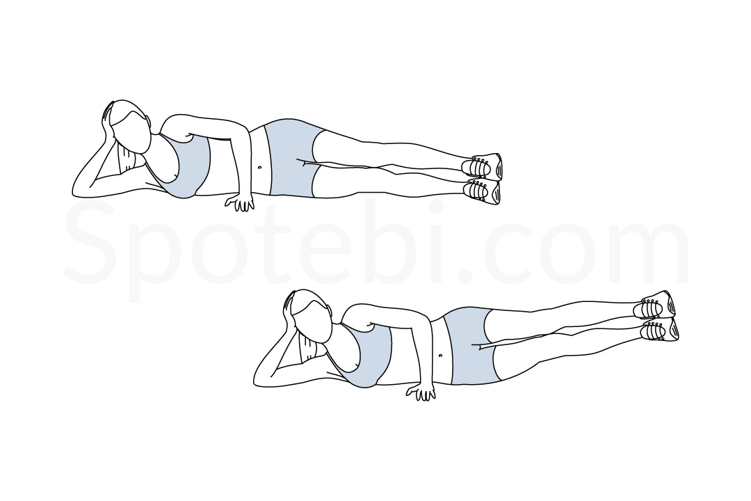 Side leg lifts exercise guide with instructions, demonstration, calories burned and muscles worked. Learn proper form, discover all health benefits and choose a workout. https://www.spotebi.com/exercise-guide/side-leg-lifts/