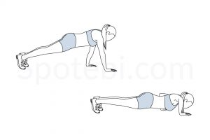 Staggered Arm Push Up Exercise Guide / @spotebi