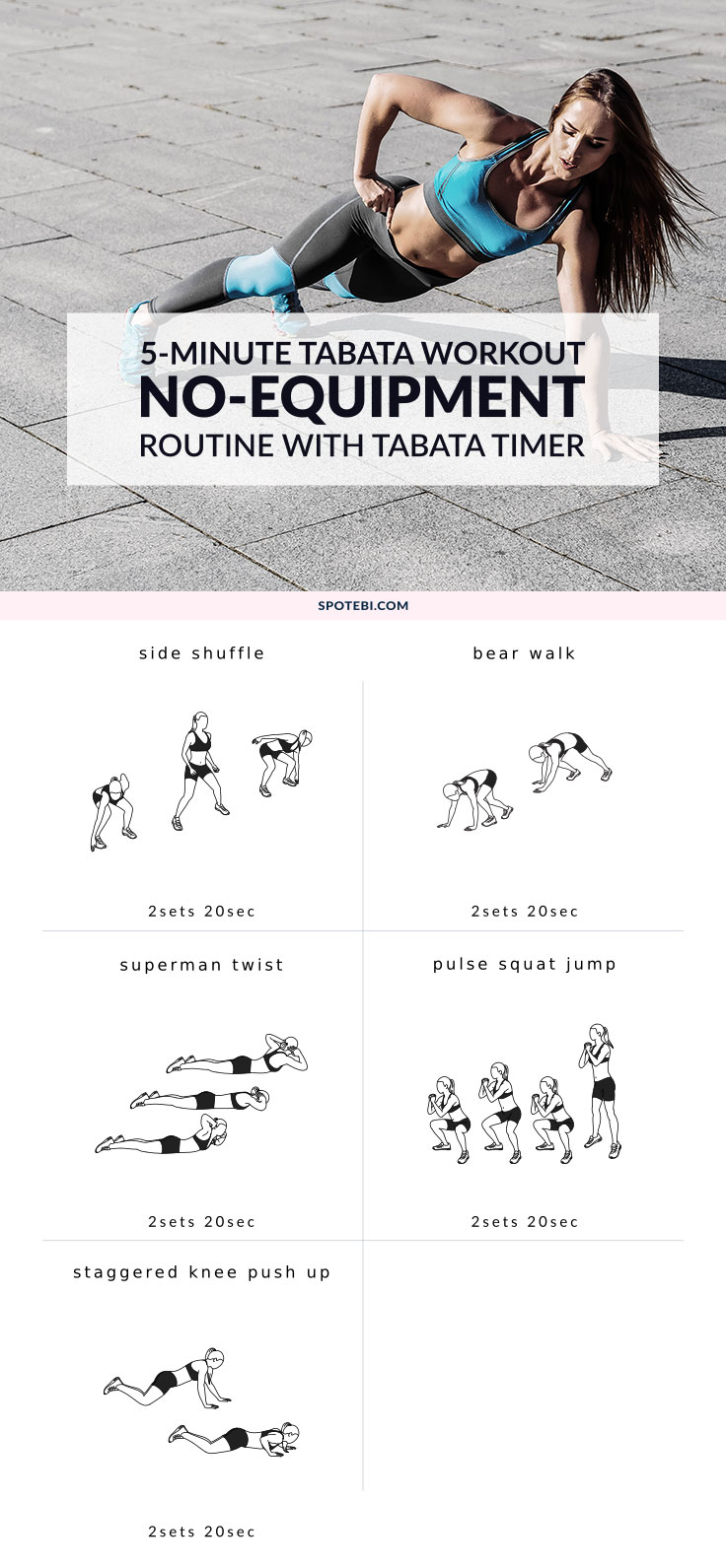 Shuffle, jump and squat your way to a trimmer and leaner body with these 5 butt-kicking Tabata exercises! Make every minute count and repeat this 5-minute workout 5 times a day for maximum metabolic and weight loss benefits! https://www.spotebi.com/workout-routines/5-tabata-exercises-get-started/