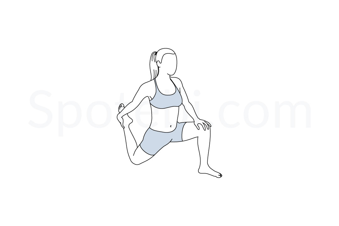 Low lunge quad stretch pose (Anjaneyasana) instructions, illustration, and mindfulness practice. Learn about preparatory, complementary and follow-up poses, and discover all health benefits. http://www.spotebi.com/exercise-guide/low-lunge-quad-stretch-pose/