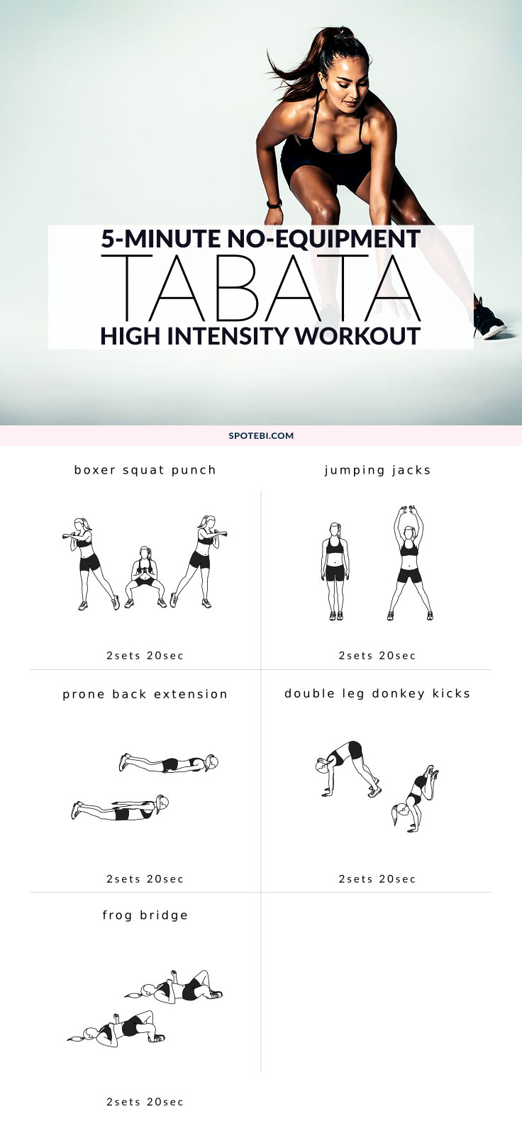 If you're always short on time and keep finding excuses not to exercise, then our 5-minute Tabata workout is perfect for you. This high-intensity circuit works your whole body and with no equipment needed and a ready-to-go Tabata timer you have no excuse not to give it a try! https://www.spotebi.com/workout-routines/no-equipment-tabata-workout-timer-music-playlist/