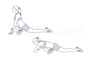 Pigeon glute stretch exercise guide with instructions, demonstration, calories burned and muscles worked. Learn proper form, discover all health benefits and choose a workout. https://www.spotebi.com/exercise-guide/pigeon-glute-stretch/