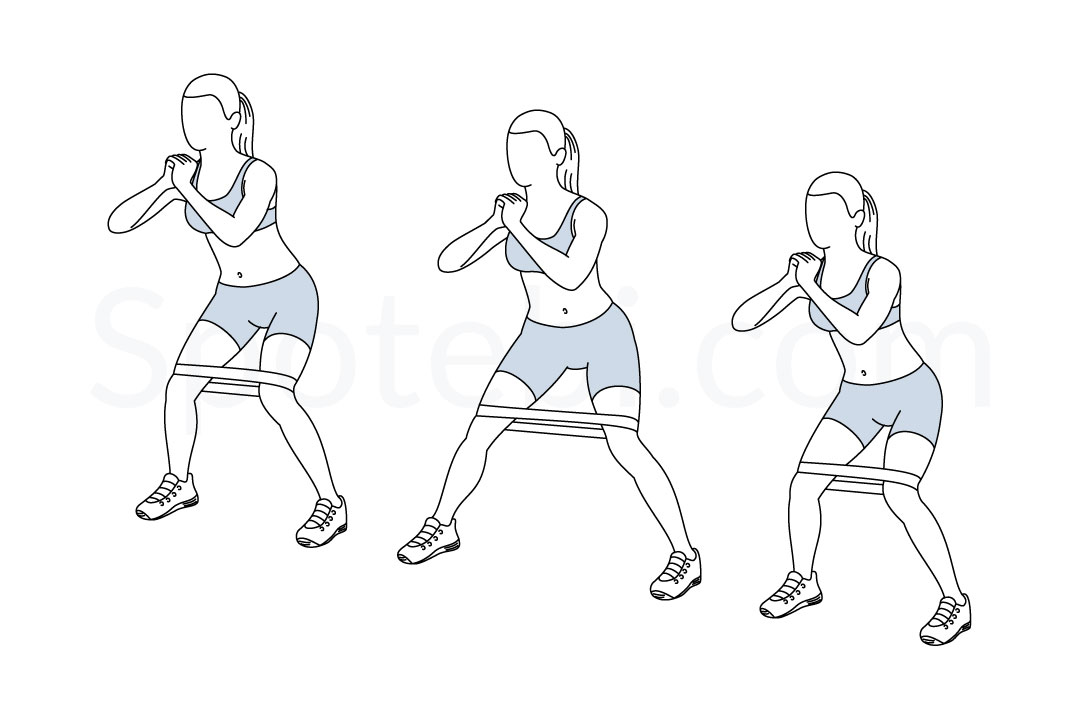 Lateral band walk exercise guide with instructions, demonstration, calories burned and muscles worked. Learn proper form, discover all health benefits and choose a workout. https://www.spotebi.com/exercise-guide/lateral-band-walk/