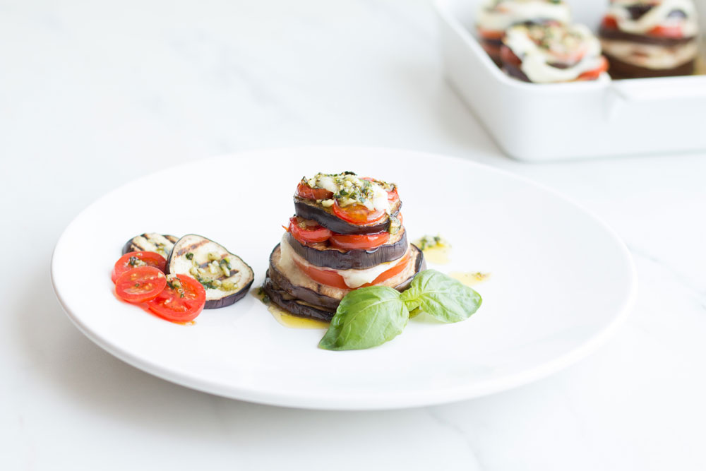 Heart-Healthy Recipe with only 307 Calories per Serving | Mediterranean Eggplant, Tomato, and Mozzarella Stacks https://www.spotebi.com/recipes/mediterranean-eggplant-tomato-mozzarella-stacks/