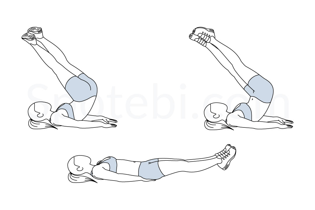Reverse crunch twist exercise guide with instructions, demonstration, calories burned and muscles worked. Learn proper form, discover all health benefits and choose a workout. https://www.spotebi.com/exercise-guide/reverse-crunch-twist/