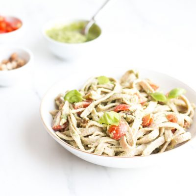Chickpea & Spelt Fresh Pasta with Homemade Pesto Sauce Recipe / @spotebi