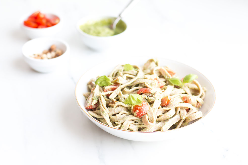 Chickpea & Spelt Fresh Pasta with Homemade Pesto Sauce Recipe: Easy, High-Protein pasta served with ripe cherry tomatoes, basil, and walnut pesto! https://www.spotebi.com/recipes/chickpea-spelt-fresh-pasta-homemade-pesto-sauce/