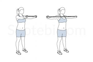 Mid back band pull exercise guide with instructions, demonstration, calories burned and muscles worked. Learn proper form, discover all health benefits and choose a workout. https://www.spotebi.com/exercise-guide/mid-back-band-pull/