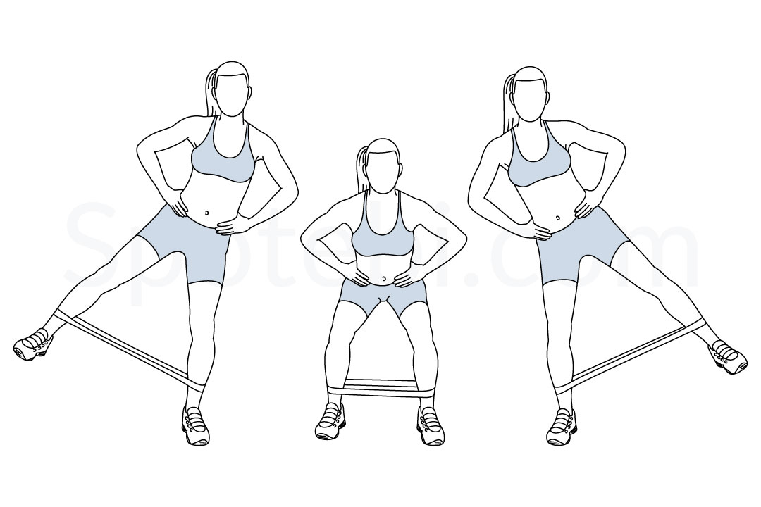Squat band hip abduction exercise guide with instructions, demonstration, calories burned and muscles worked. Learn proper form, discover all health benefits and choose a workout. https://www.spotebi.com/exercise-guide/squat-band-hip-abduction/