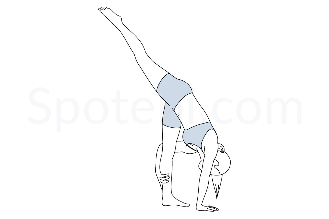 Standing split pose (Urdhva Prasarita Eka Padasana) instructions, illustration, and mindfulness practice. Learn about preparatory, complementary and follow-up poses, and discover all health benefits. https://www.spotebi.com/exercise-guide/standing-split-pose/