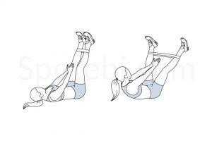 Band leg abduction crunch exercise guide with instructions, demonstration, calories burned and muscles worked. Learn proper form, discover all health benefits and choose a workout. https://www.spotebi.com/exercise-guide/band-leg-abduction-crunch/