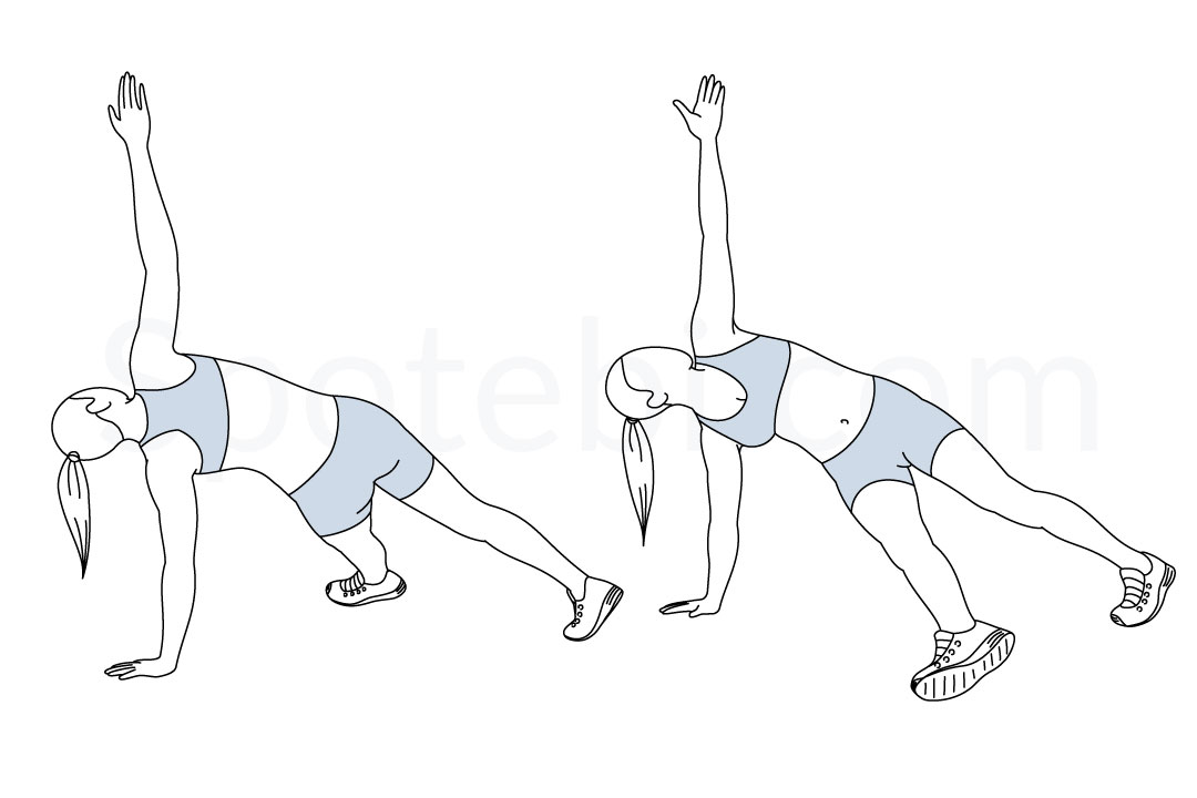 Plank kick throughs exercise guide with instructions, demonstration, calories burned and muscles worked. Learn proper form, discover all health benefits and choose a workout. https://www.spotebi.com/exercise-guide/plank-kick-throughs/