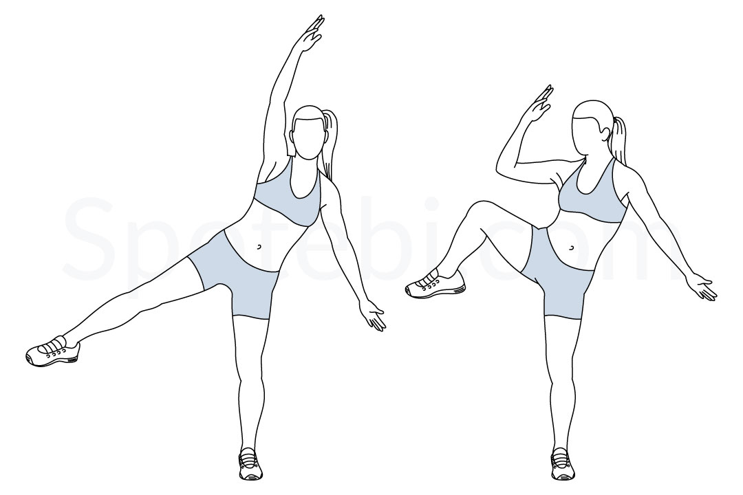 Single leg side crunch exercise guide with instructions, demonstration, calories burned and muscles worked. Learn proper form, discover all health benefits and choose a workout. https://www.spotebi.com/exercise-guide/single-leg-side-crunch/