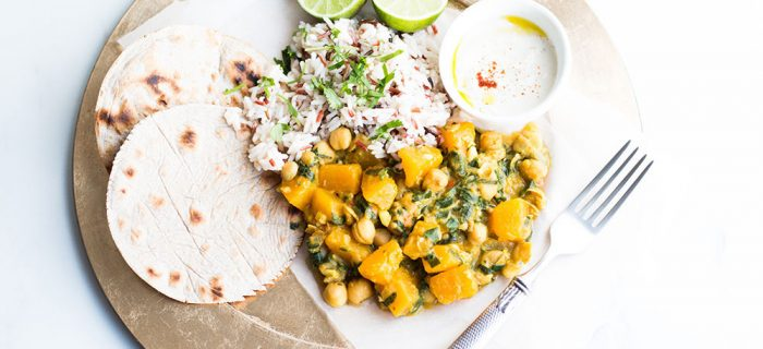 Chickpea Curry with Pumpkin and Spinach