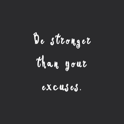 Be Stronger Than Your Excuses | Training And Healthy Eating Motivational Quote / @spotebi